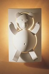 Teddy bear natural plaster wall lamp for children