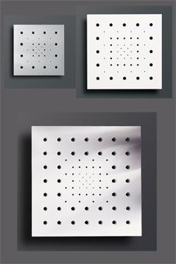 Moucharabieh PM applique carrée ajourée en plâtre naturel blanc. Sedap.