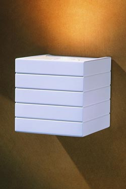 Cube 1790 wall lamp in white natural striated plaster cube shape. Sedap.