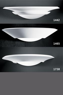 Wall lamp cauldron shape plaster and frosted glass 1442. Sedap.