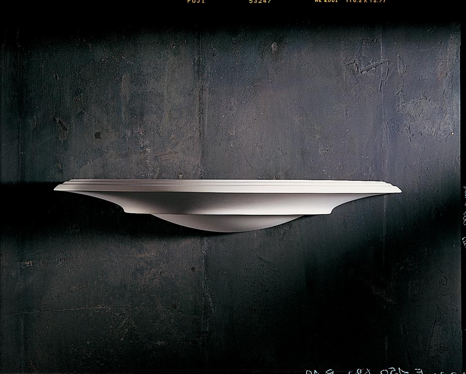 Thin and long 1300 cauldron wall lamp in natural white plaster. Sedap.