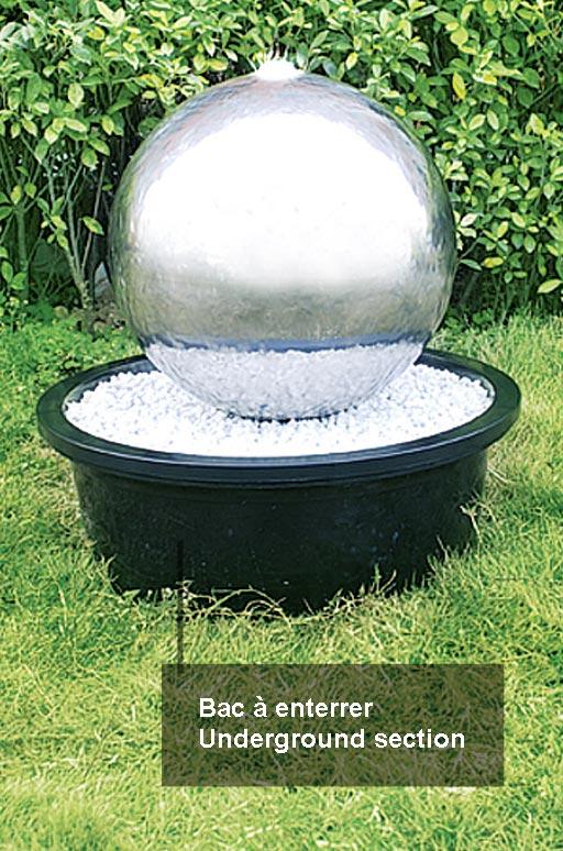 Fontaine de jardin sphère inox 50cm | Seliger spécialiste des ...