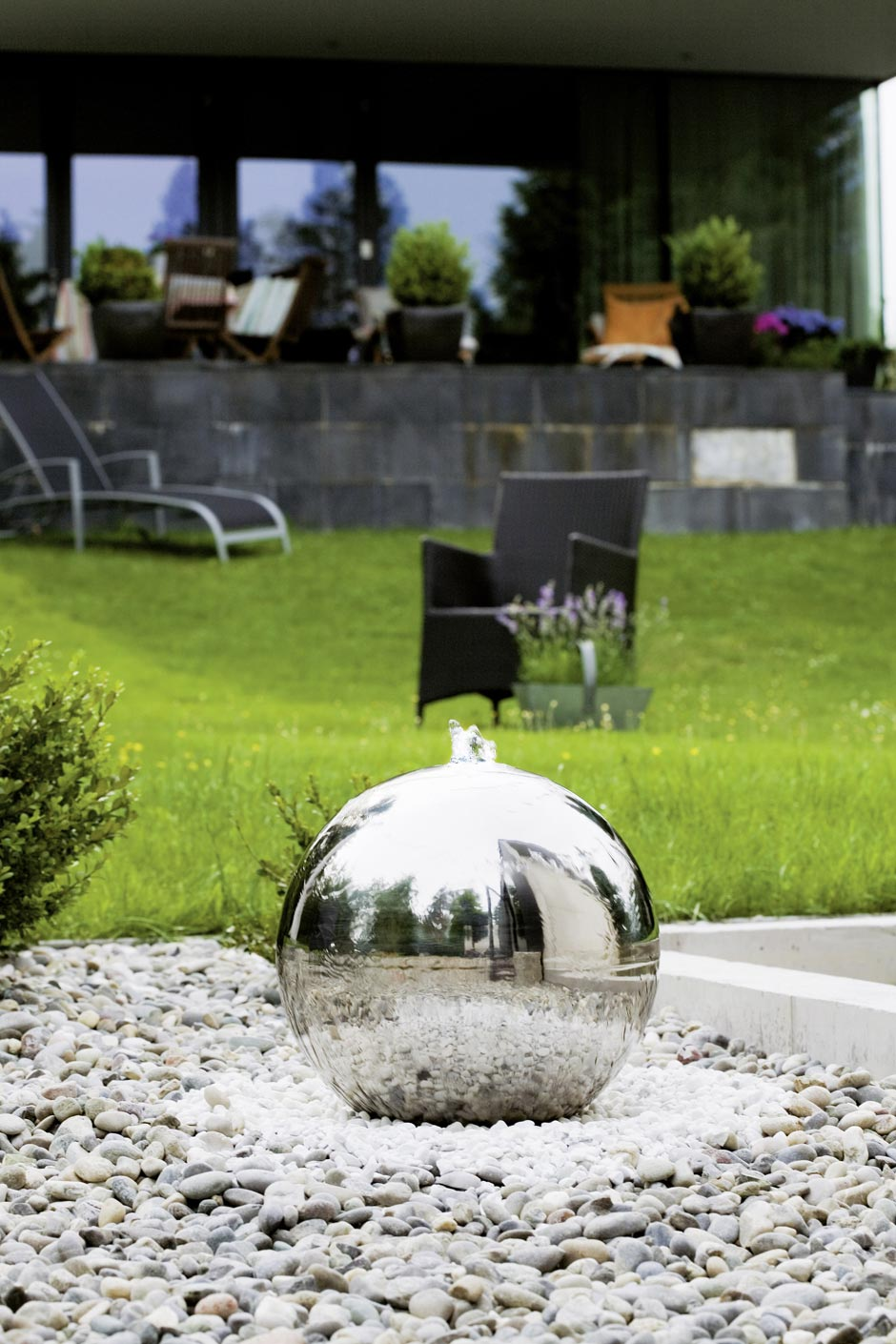 Fontaine jardin design sph re inox 40cm seliger for Fontaine jardin design