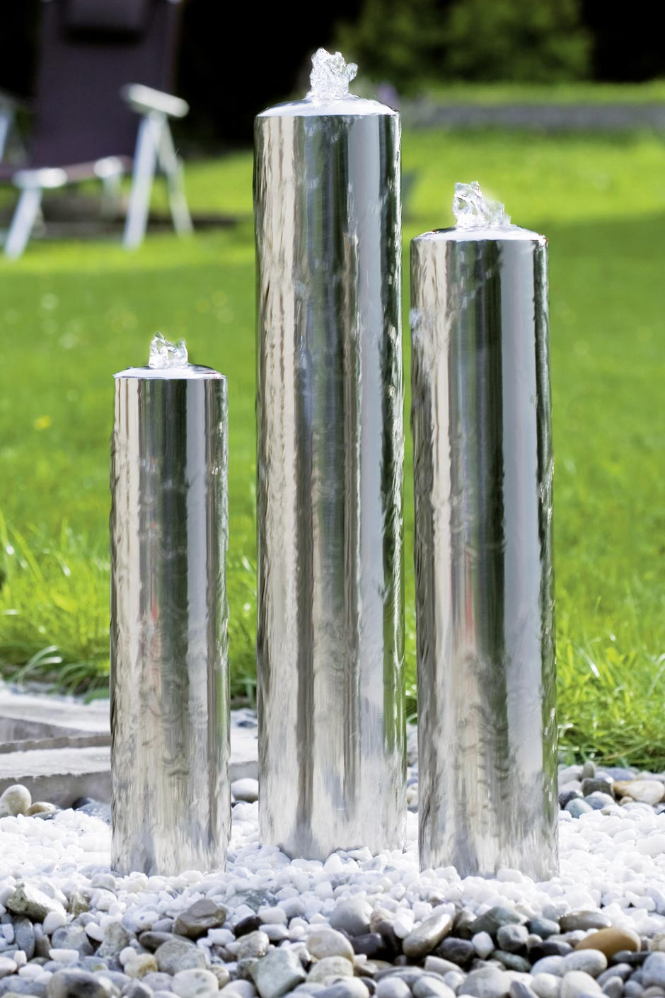 Fontaine jardin inox design tubes seliger sp cialiste for Fontaine jardin design