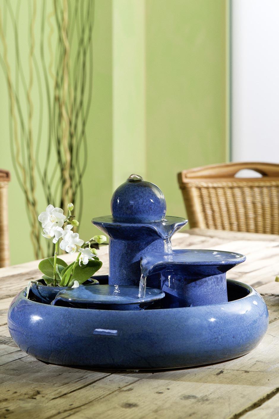 Fontaine vasque trois colonnes en céramique bleue   Seliger ...
