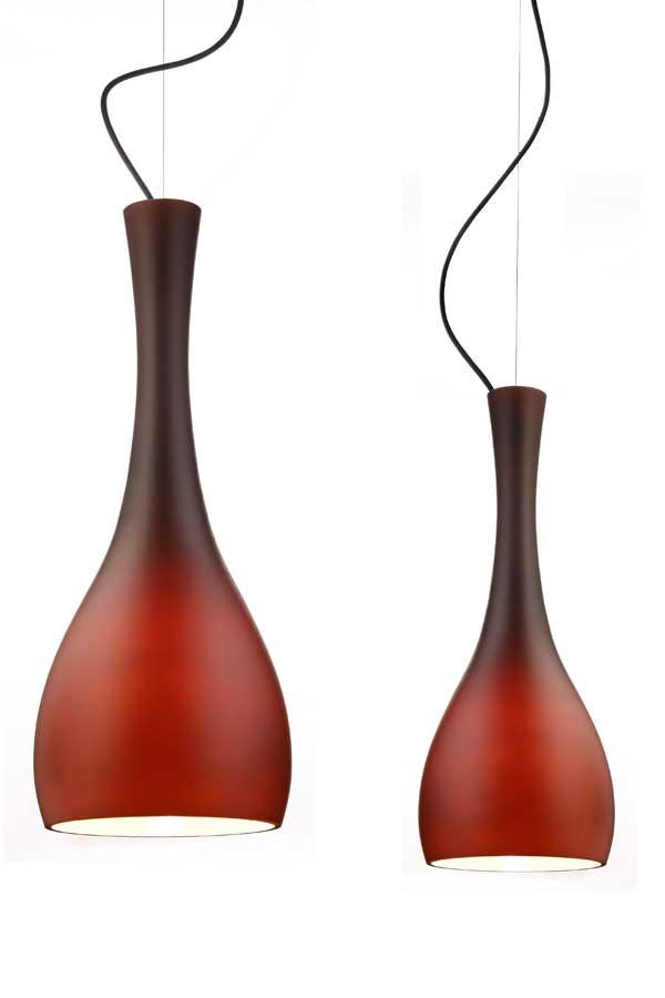 Suspension double ITTEKI 2 en verre opale brun. Sottoluce.