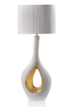 Ca'Doro lampe en céramique blanche et dorée. Munari par Stylnove Ceramiche.