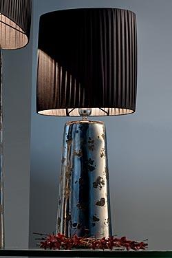 Deep lampe potiche étroite céramique platine brillant et motif mat petit modèle. Munari par Stylnove Ceramiche.