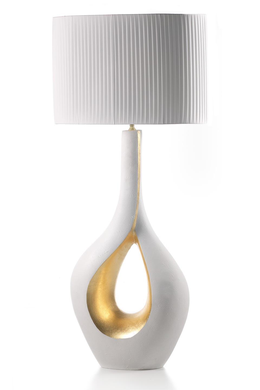 Ca'Doro lampadaire en céramique blanc et doré. Munari par Stylnove Ceramiche.