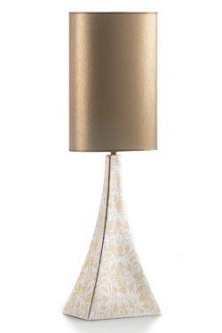Lampe pyramide damassée et abat-jour cylindrique. Munari par Stylnove Ceramiche.