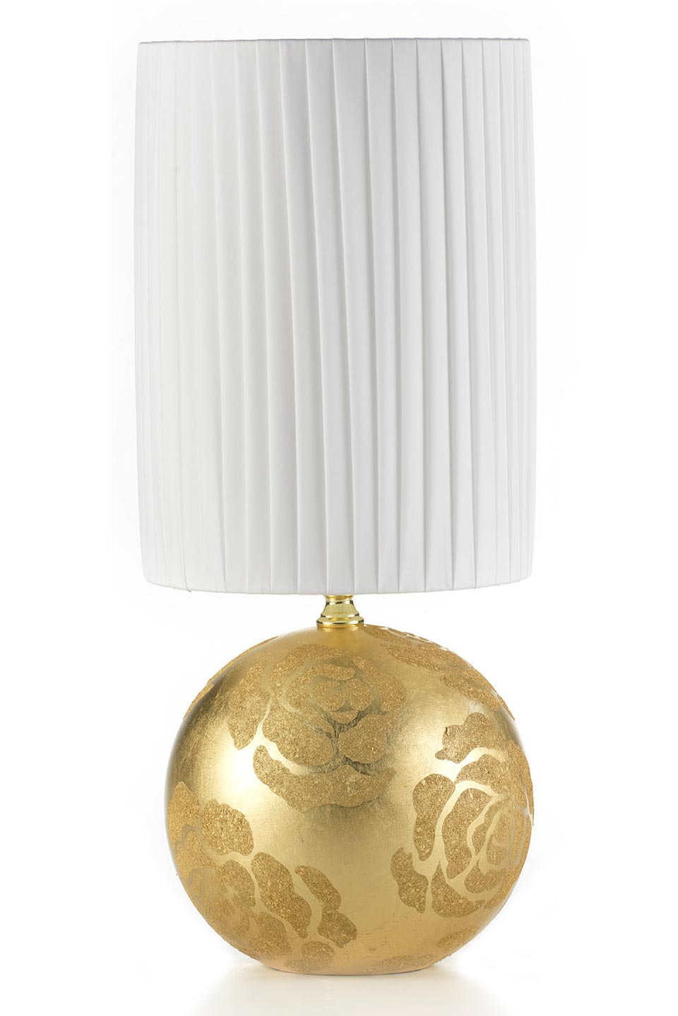 Linea Globe lampe ronde dorée motif fleurs petit modèle. Munari par Stylnove Ceramiche.