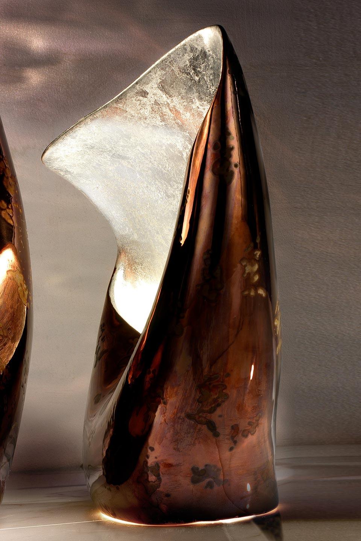 Linea Nature lampe cuivre et bronze intérieur argenté petit modèle. Munari par Stylnove Ceramiche.