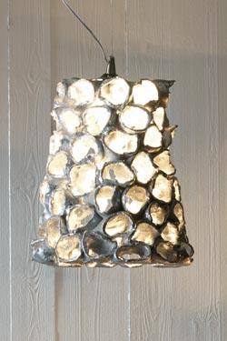 Linea Reef suspension conique petit modèle céramique et feuille d'argent. Munari par Stylnove Ceramiche.