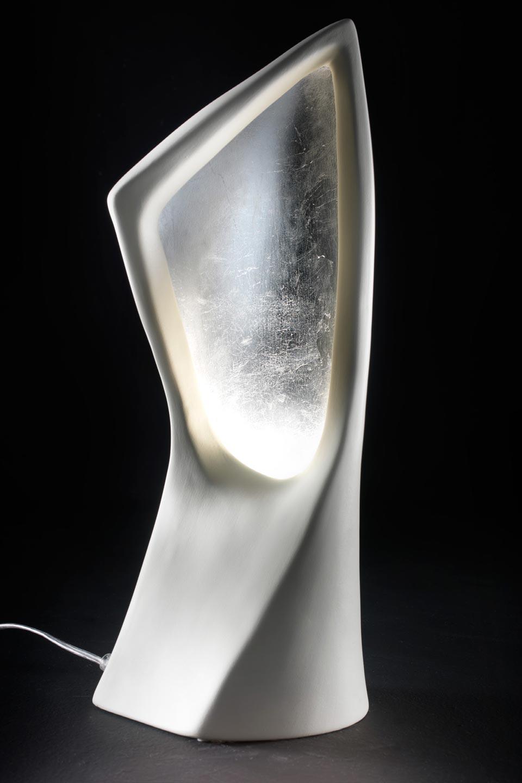 Linear lampe de table blanc et argent r f 13030360 - Lampe de chevet argent ...