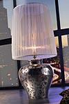 Ming lampe potiche céramique platine brillant et motif mat. Munari par Stylnove Ceramiche.
