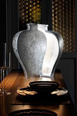 Open Ming lampe forme vase ouvert en céramique argentée. Munari par Stylnove Ceramiche.
