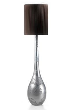 Raindrop lampadaire en boule allongée décoré à la feuille d'argent. Munari par Stylnove Ceramiche.