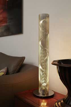Petite Colonne Spirale lampe inox. Thierry Vidé.