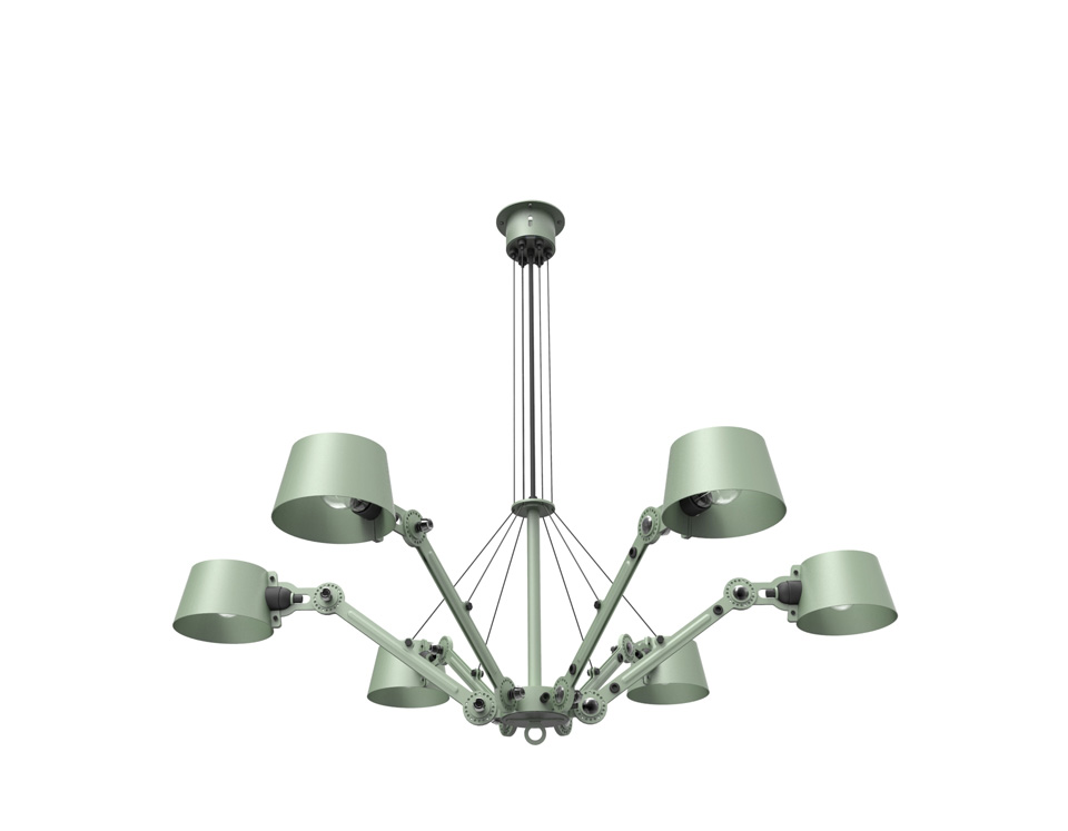 Green Bolt chandelier with 6 branches. Tonone.