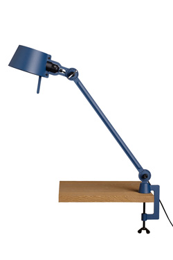Large Bolt Desk lamp with one arm only, and a vice clamp. Blue.. Tonone.