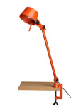 Large Bolt Desk lamp with one arm only, and a vice clamp. Bright Orange.. Tonone.