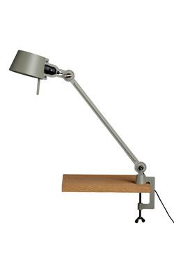 Large Bolt Desk lamp with one arm only, and a vice clamp. Moss green.. Tonone.