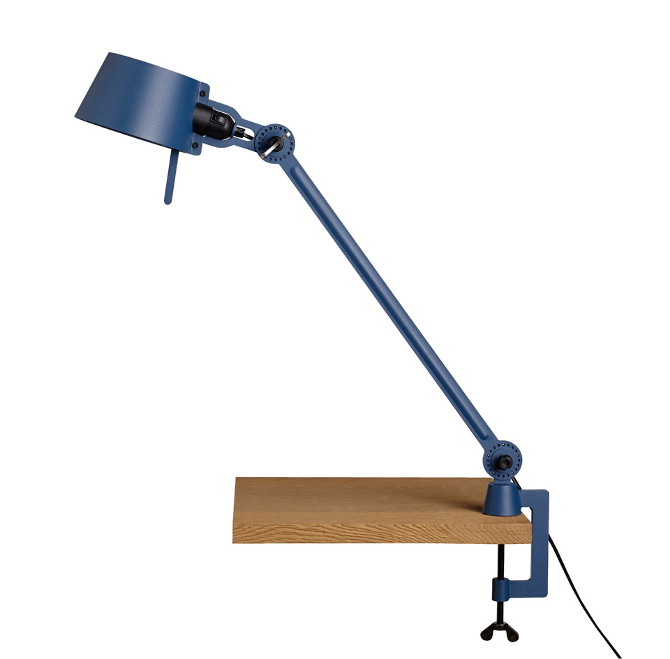 Large Bolt Desk lamp with one arm only, and a vice clamp. Blue ...