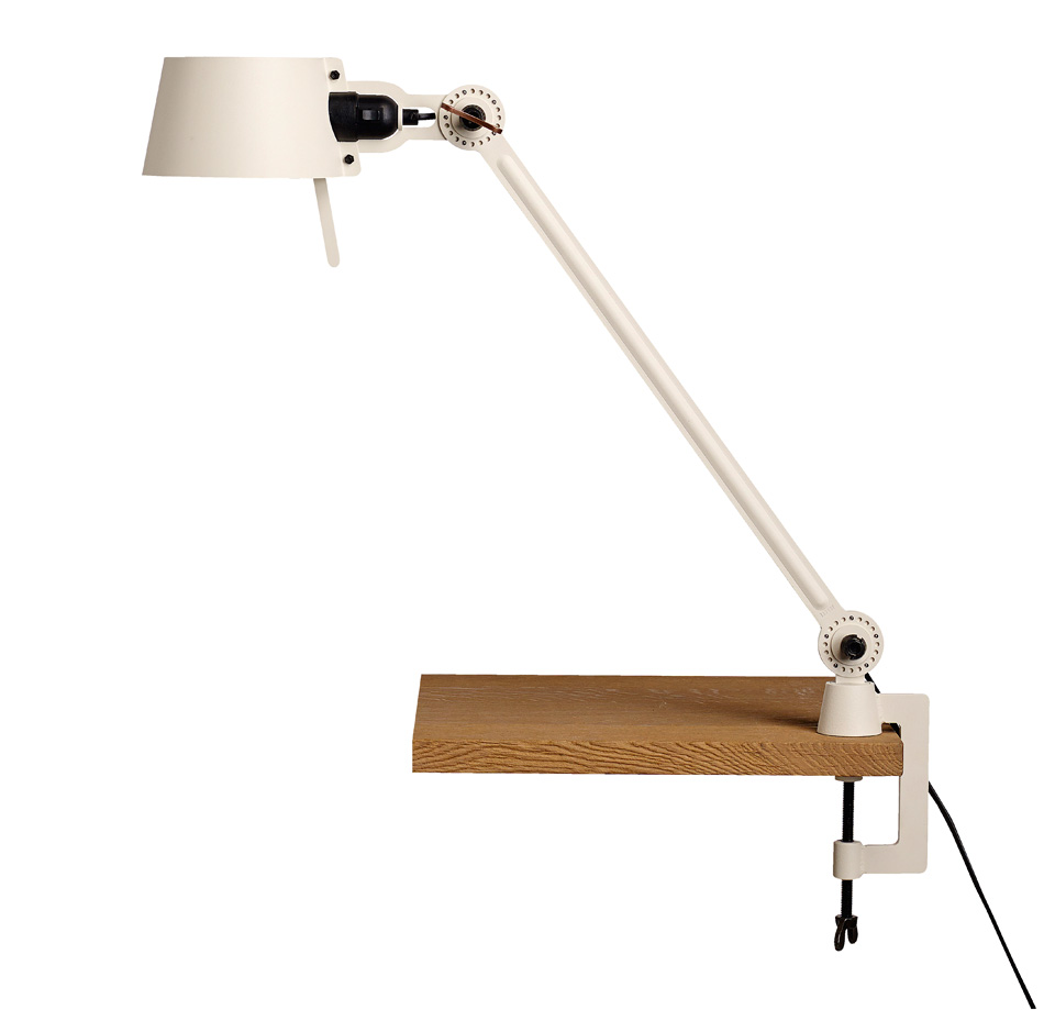 Large Bolt Desk lamp with one arm only, and a vice clamp. Creme ...