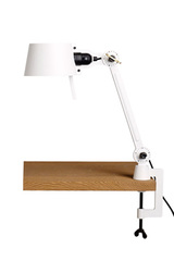 Small Bolt Desk lamp with one arm only, and a base, pure White. Tonone.