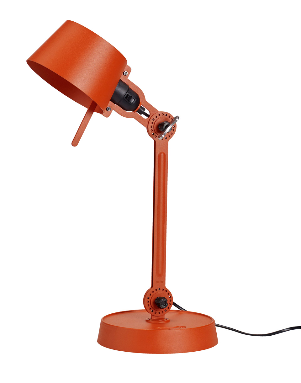 Small Bolt Desk lamp with one arm only, and a base. Bright Orange.. Tonone.