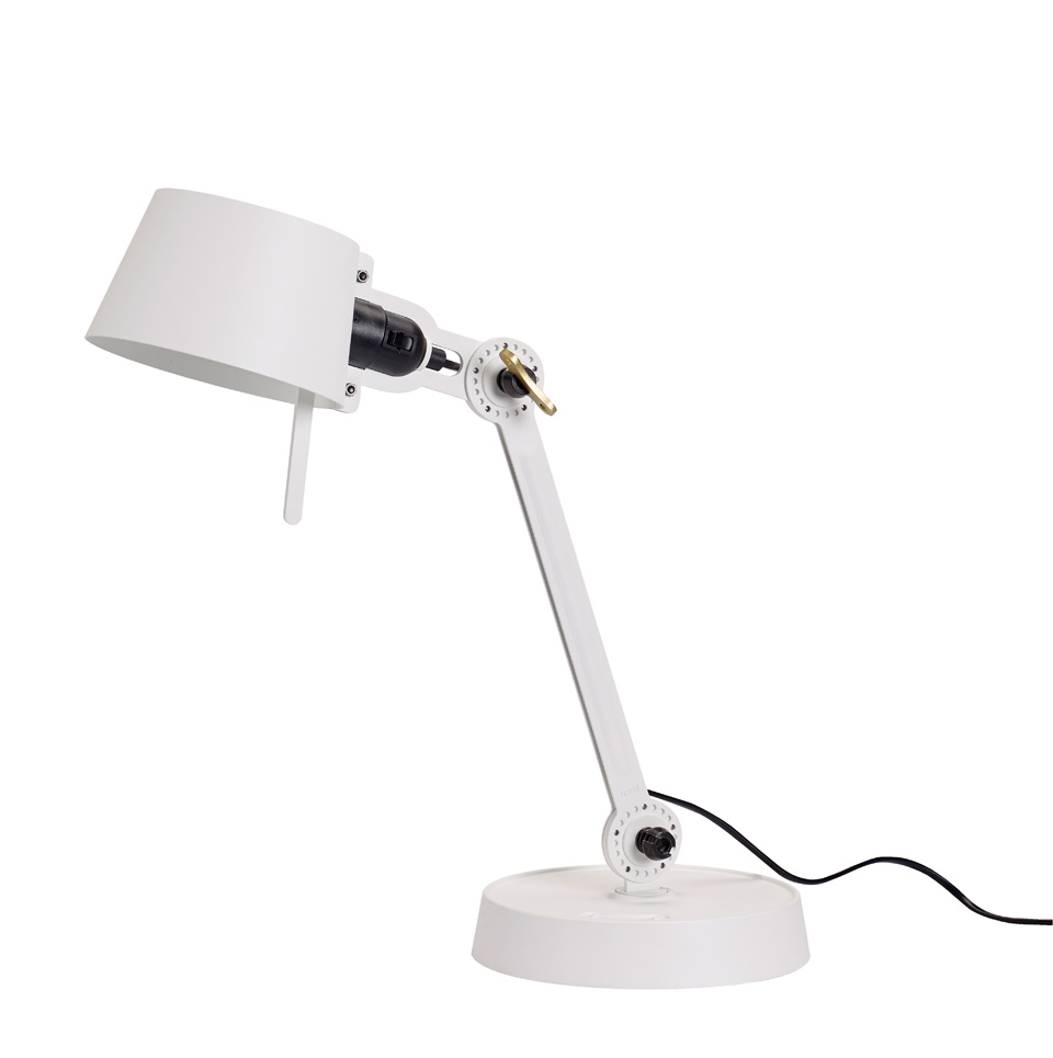 Small Bolt Desk lamp with one arm only, and a base. Pure white.. Tonone.