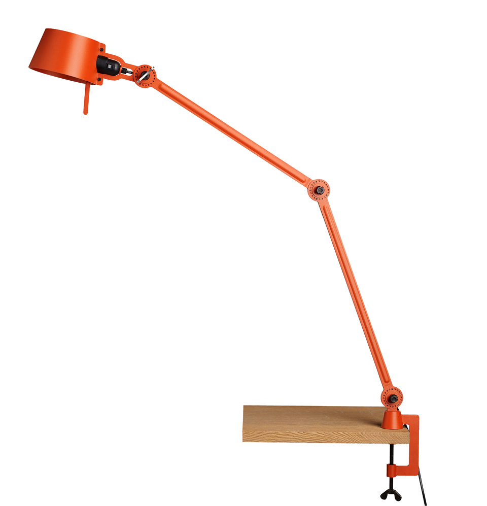 Desk lamp with two arms, in orange metal Bolt Desk. Tonone.