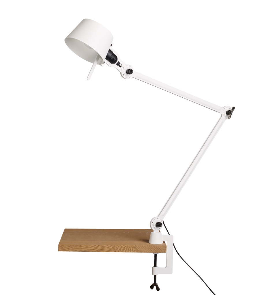 Desk lamp with two arms, in pure white metal Bolt Desk. Tonone.