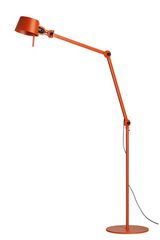 Large orange floorlamp workshop style in steel. Tonone.