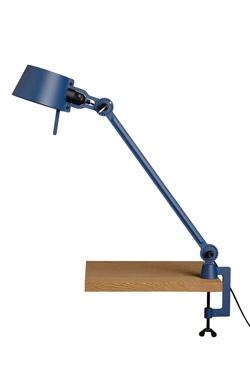 Lampe de bureau bleue en acier grainé à pince-étau Bolt Desk. Tonone.