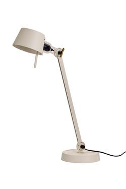 Lampe de bureau grand modèle Bolt Desk en métal blanc crème, un seul bras et un socle. Tonone.