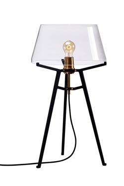 Lampe de table avec abat-jour transparent sur trépied noir Ella, . Tonone.