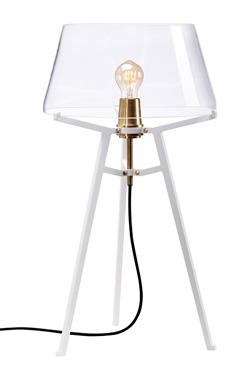 Lampe de table design industriel, avec abat-jour transparent sur trépied blanc Ella. Tonone.