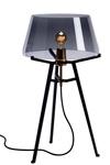 Lampe de table Ella, avec abat-jour en verre fumé sur trépied noir. Tonone.