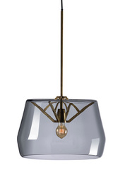 Large Atlas suspension with smocked glass shade. Tonone.