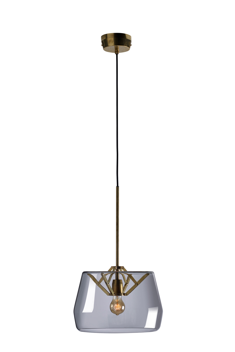 Small Atlas pendant lamp, with smocked glass shade. Tonone.