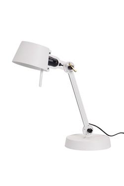 Petite lampe de bureau blanche Bolt Desk esprit atelier en acier grainé sur socle acier. Tonone.