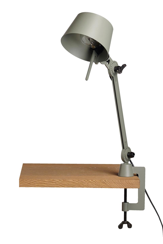 Petite lampe de bureau sur étau bras en métal couleur kaki Bolt Desk . Tonone.