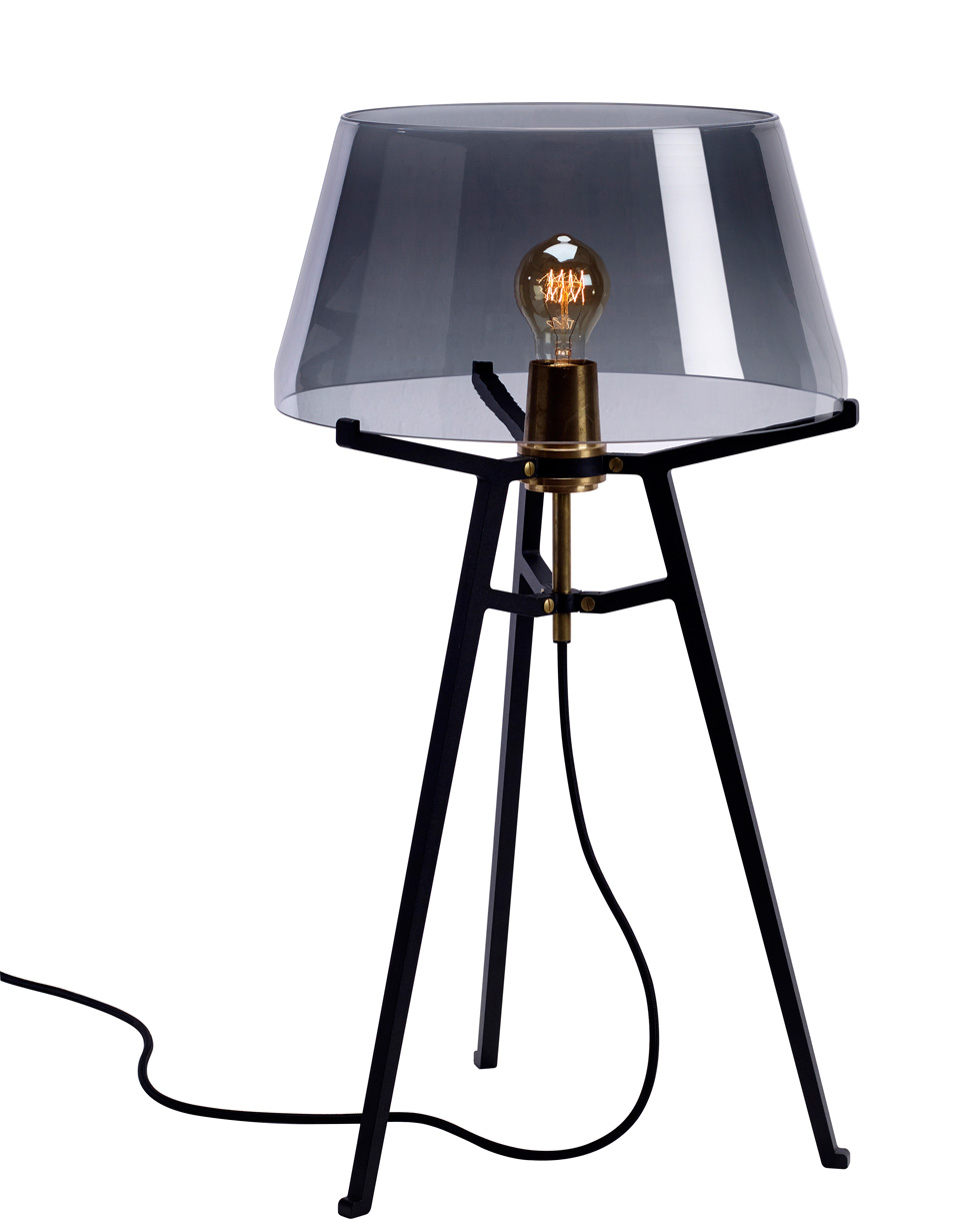 Ella table lamp, with lightly smoked glass shade on black tripod. Tonone.