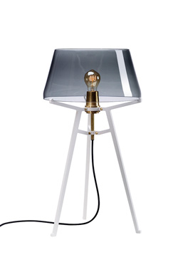 Ella table lamp, with lightly smoked glass shade on white tripod. Tonone.