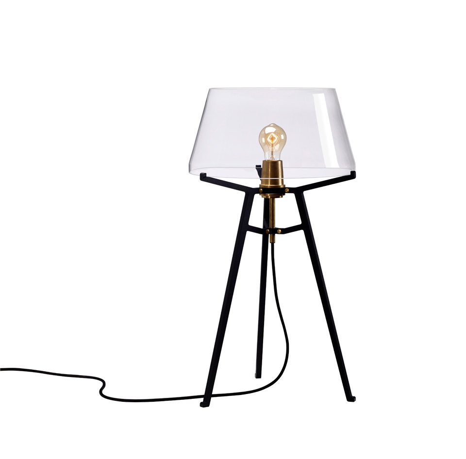 Ella table lamp, with transparent glass shade on black tripod. Tonone.
