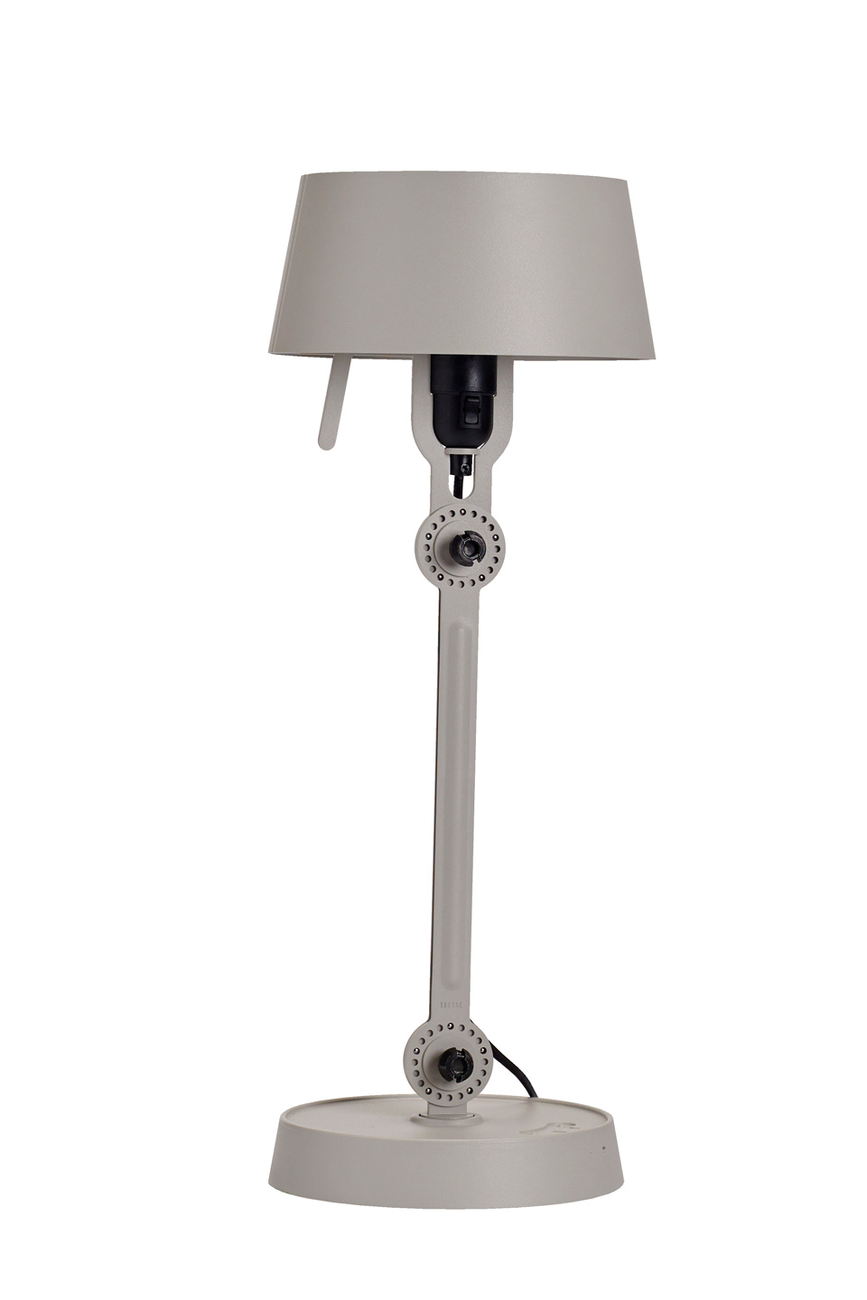 Little gray table lamp in steel, industrial style. Tonone.