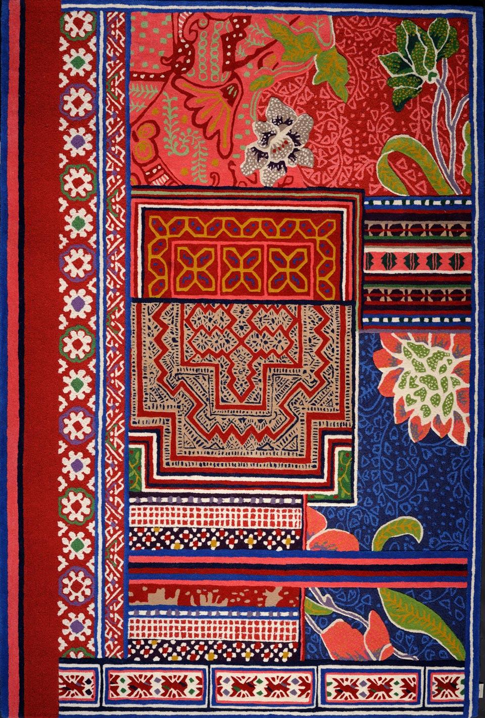 Tapis multicolore rouge tuft main laine et soie v g tale toulemonde bochart tapis design et Beaux tapis contemporains