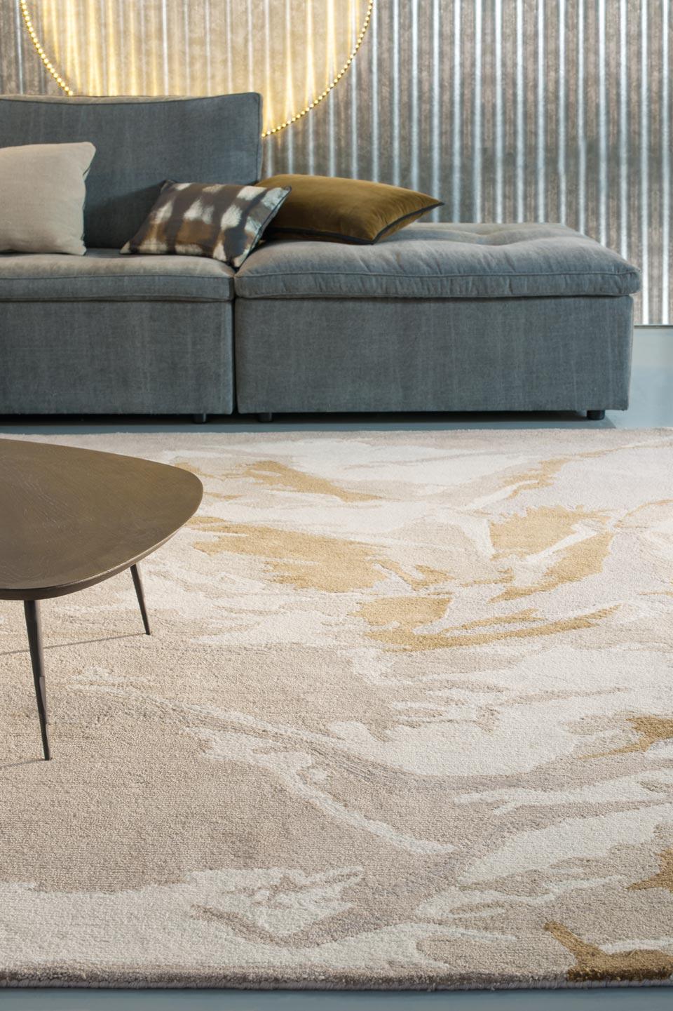 Beige marron et gris tuft main 100 soie v g tale toulemonde bochart tapis design et Beaux tapis contemporains