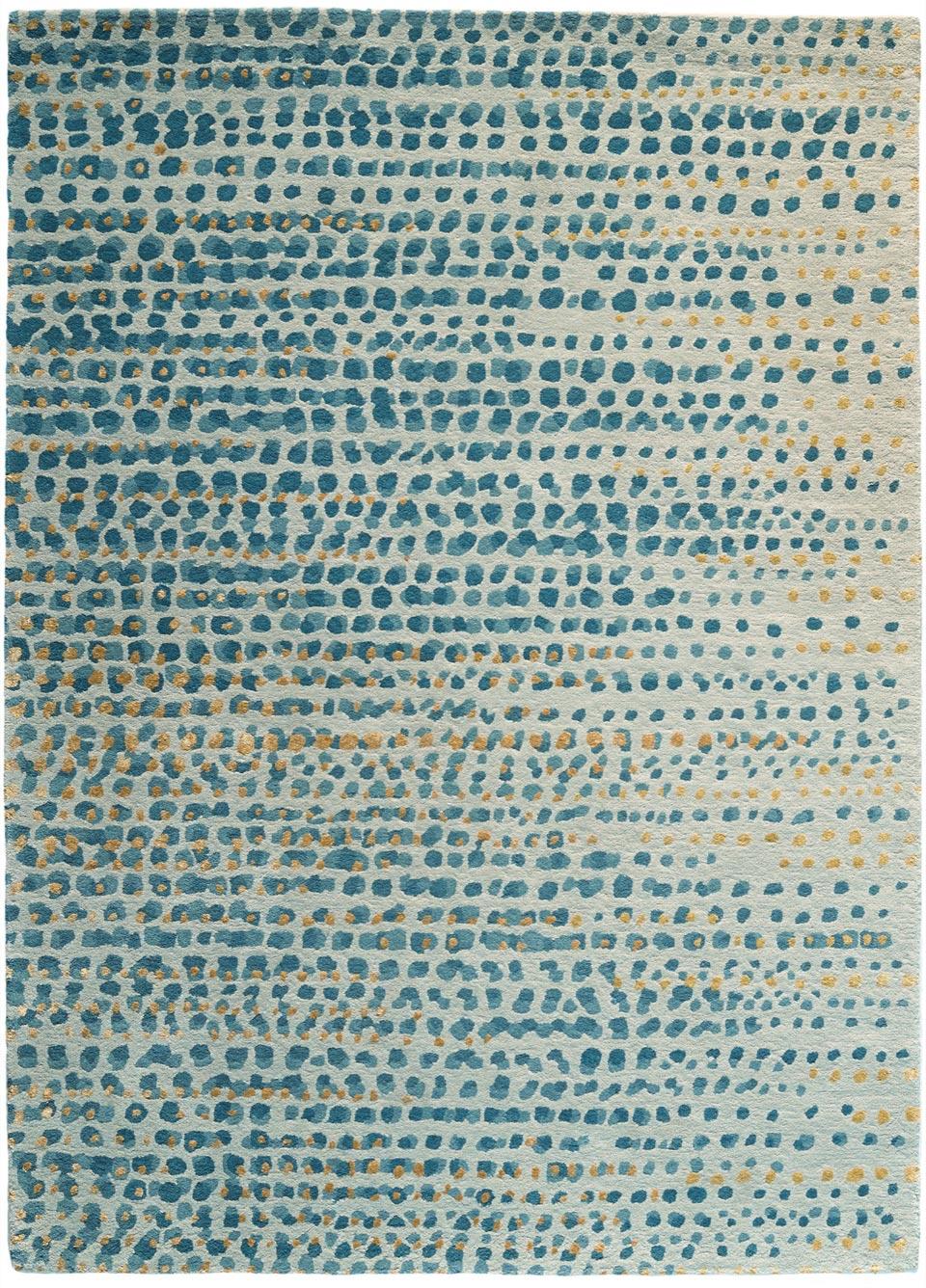 Bleu à fond gris tufté main laine et soie végétale - Toulemonde ...
